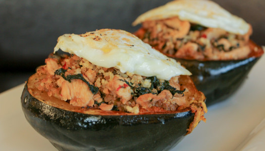 "Quinoa ""Fried Rice"" stuffed Acorn Squash"