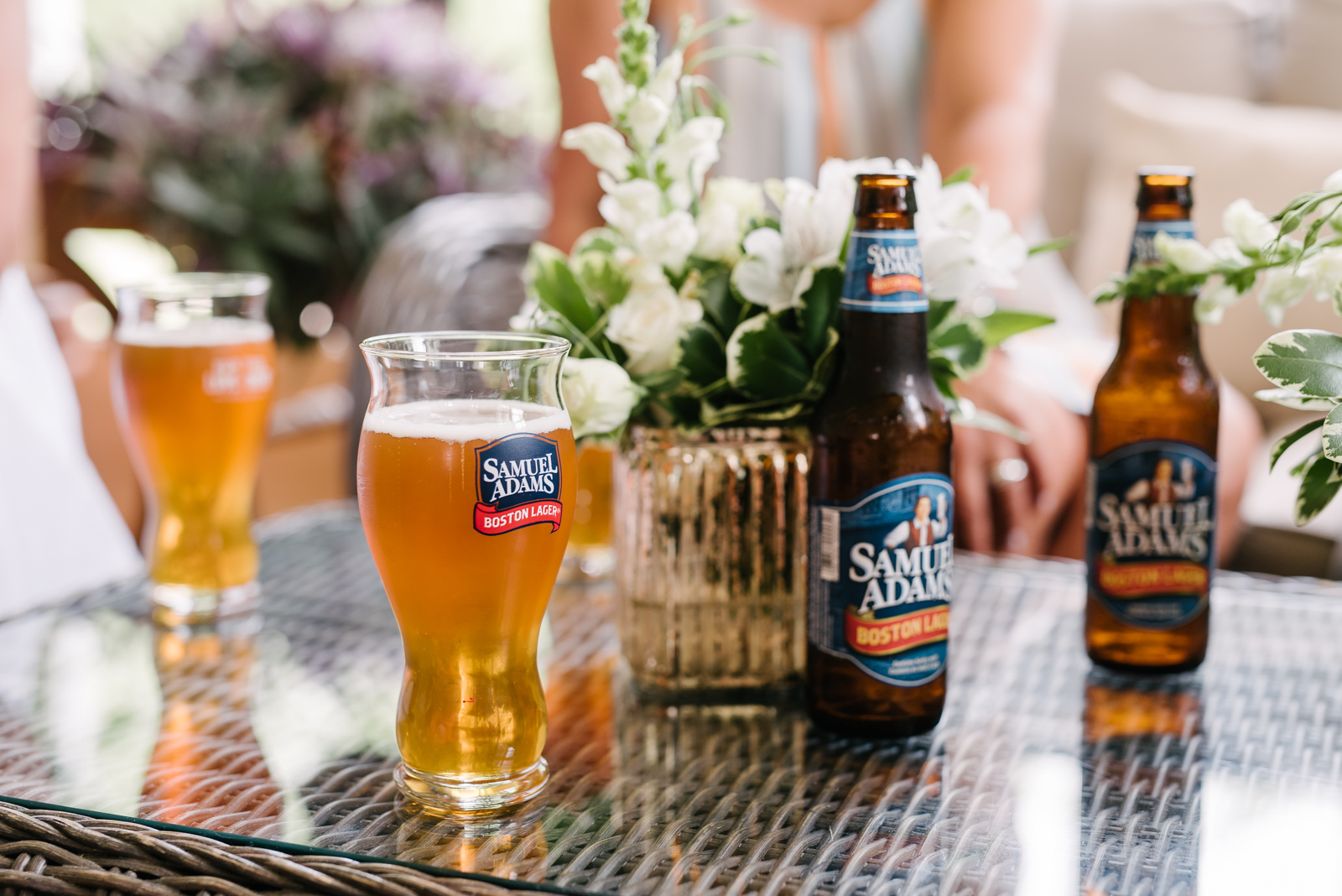 Samuel Adams boston Lager in bottles and glasses