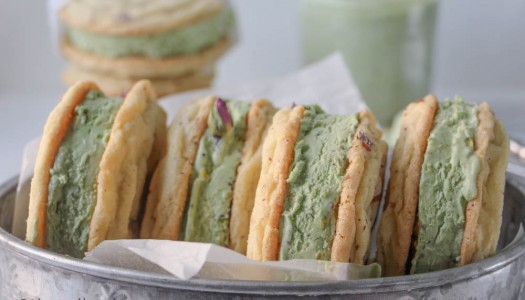 Rose and Pistachio Ice Cream Sandwiches