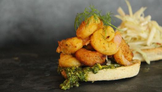"Dill ""Pakora"" Shrimp & Pistachio Dill Pesto"