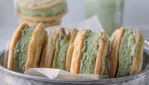 Rose and Pistachio Ice Cream Sandwiches